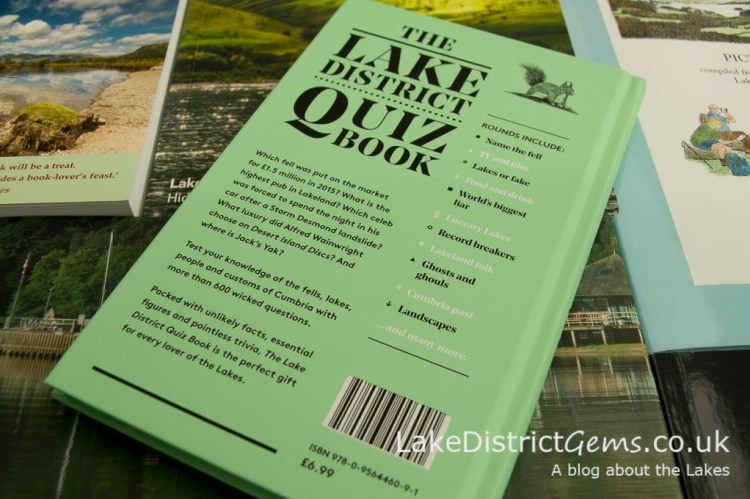 Rear cover of The Lake District Quiz Book by David Felton, published by Inspired by Lakeland