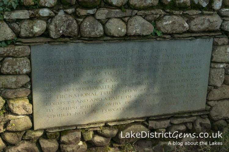A stone dedicated to Hardwicke Rawnsley