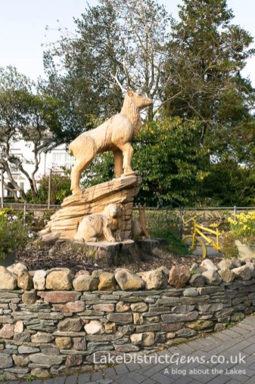 The stag carving, created in 2017 outside Grasmere Garden Village