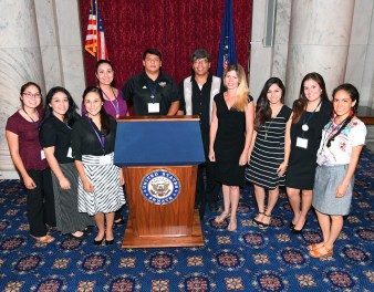 Left to right: Victoria Torres (OLLU), Katrina Martinez (OLLU), Mariela Fuentes (UIW), Karissa Vigil (UIW), Fr. James Mark Adame (UIW), Marco Martinez (CRS), Dr. Amber Aubone (St. Mary's), Mari Ramirez (St. Mary's), Gisela Reyes (St. Mary's), Amelia Romo (OLLU). Photo by Jim Burger for CRS