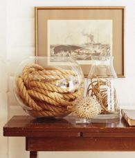 rope and vase decor, nautical decor, lake house decor idea, decorate a lake house