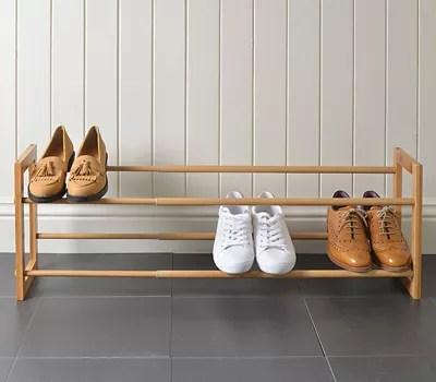 extending stackable wooden shoe rack