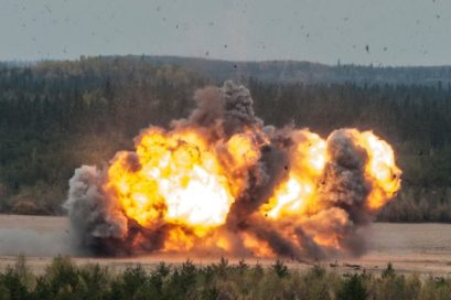 An explosion erupts during Exercise Taz Tornado, an advanced conventional munitions disposal exercise, at Jimmy Lake Range, Cold Lake Air Weapons Range, on September 30, 2014. Photo: Corporal Manuela Berger
