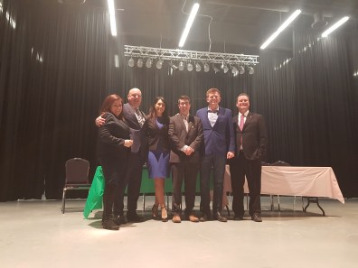 Left to Right: Shannon Stubbs (MP Lakeland), Dave Hanson ( Lac La Biche-St. Paul-Two Hills),, Leela Aheer (Chestermere-Rocky View), Nathan Cooper (Olds-Didsbury-Three Hills), Brain Jean, and Scott Cyr ( Bonnyville-Cold Lake)