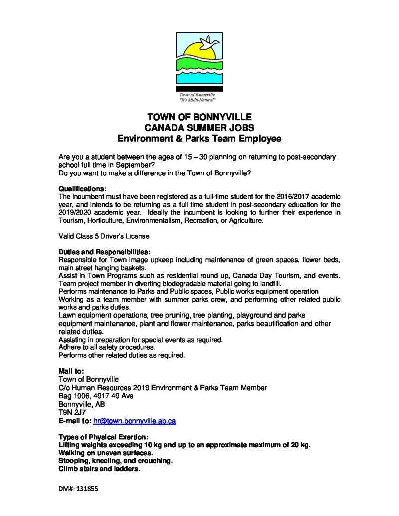 Town of Bonnyville Canada Summer jobs Environment and Parks team
