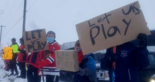Minor hockey players rally outside of C2 as part of provincial Let Them Play Marches