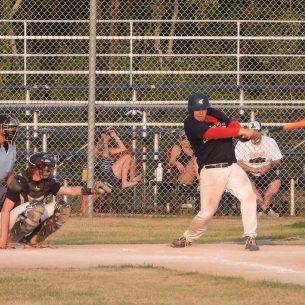 Dawson Plamondon with a mighty swing