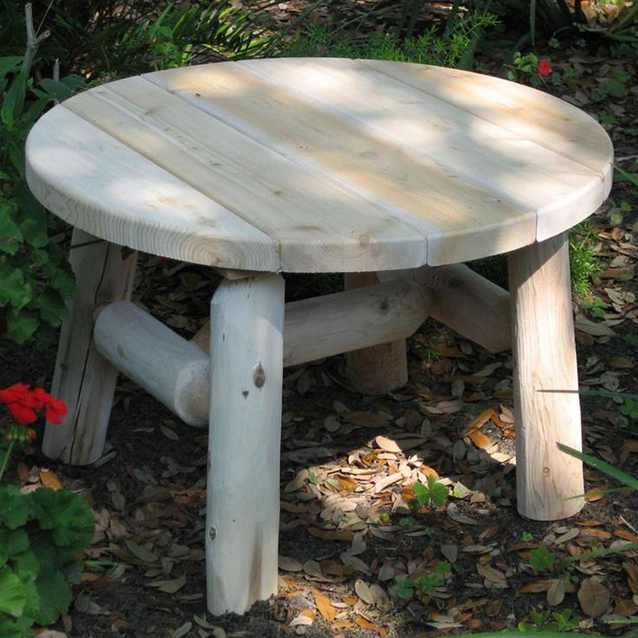 cedar log round coffee table