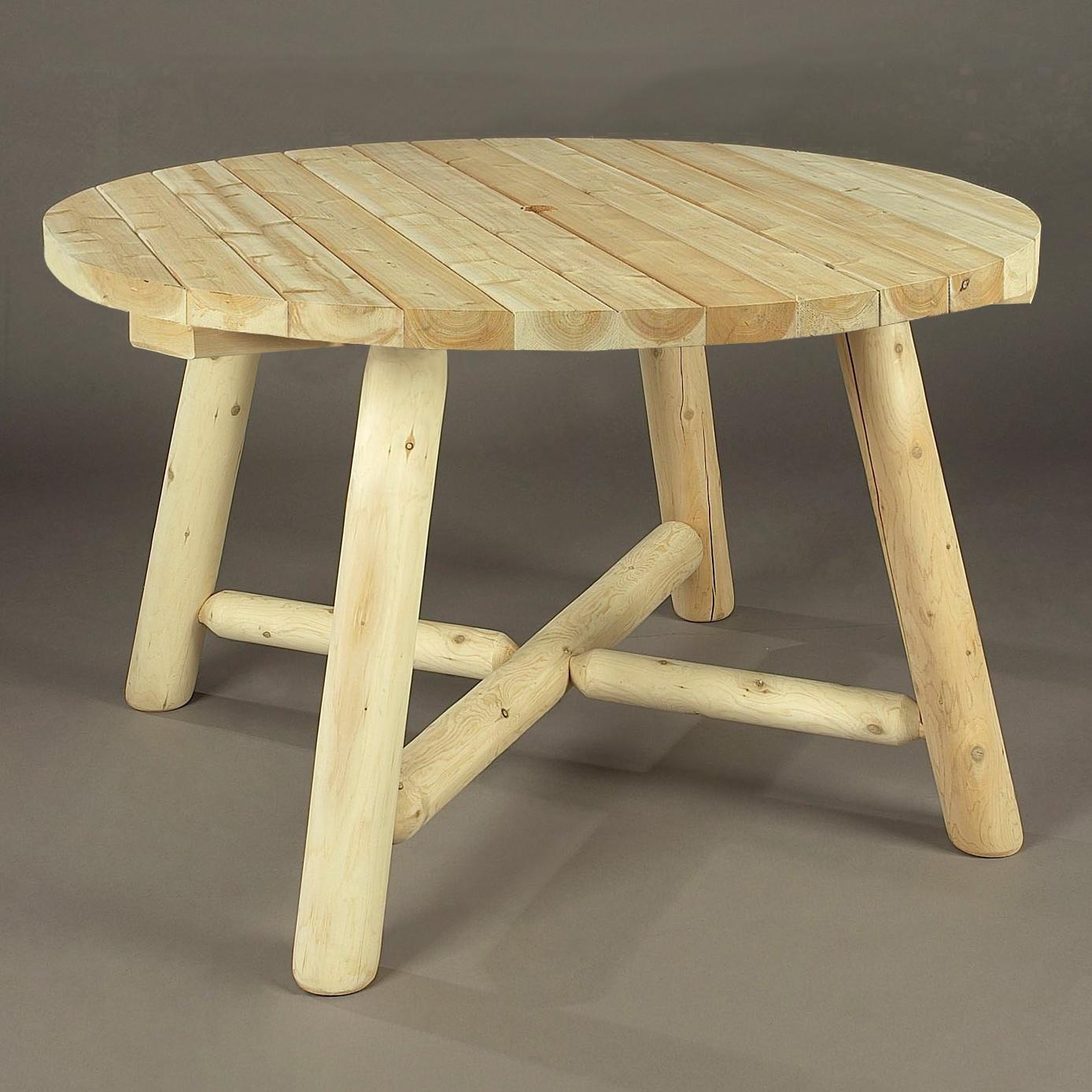 cedar looks round log table