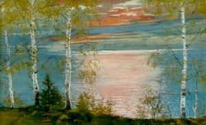 North Lake Leelanau Sunset.  Watercolor by Hugo von Hofsten.