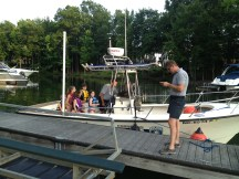 A visit by the local police department boat. The kids got a full tour.