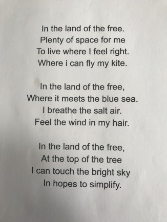 A Poem on his freedom in the US