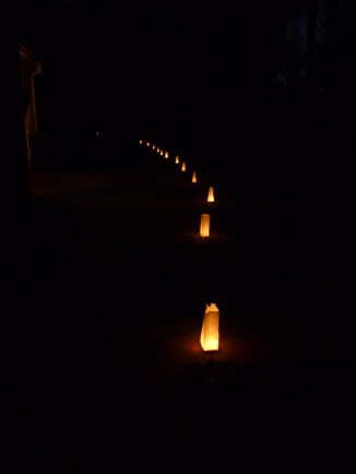 Luminaries to find our house down the driveway