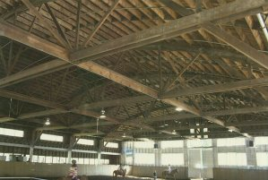 The bowstring arch trusses inside the Hunt facility.