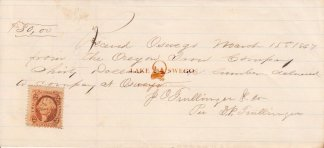 Oregon Iron Co. receipt for stone, brick, & lime paid to Capt. John Crosby June 24, 1867