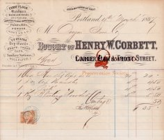 Oregon Iron Co. receipt from Henry W. Corbett for mining supplies March 18, 1867