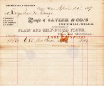 Oregon Iron Company receipt for bran purchased from Savier & Co. April 22, 1869