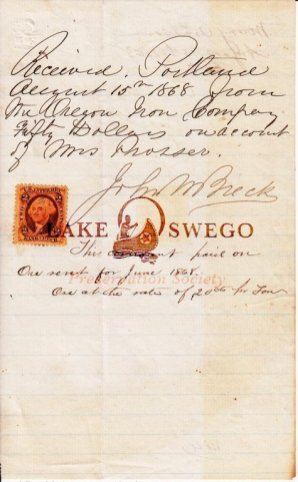 Oregon Iron Co. receipt for $50 paid to Mrs. Prosser & signed by John M. Breck August 15, 1868