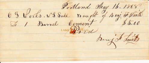 Oregon Iron Co. receipt for one barrel of cement purchased by W. S. Ladd May 16, 1869