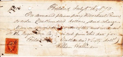 Oregon Iron Company note for payment of wages for William Hallinan July 3, 1870