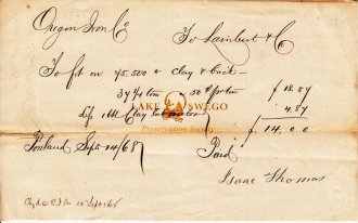 Oregon Iron Company receipt for clay and brick paid to Isaac Thomas September 14, 1868