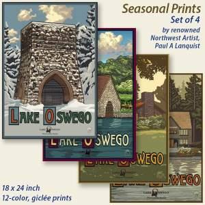 Seasonal Giclée Prints, Set of 4