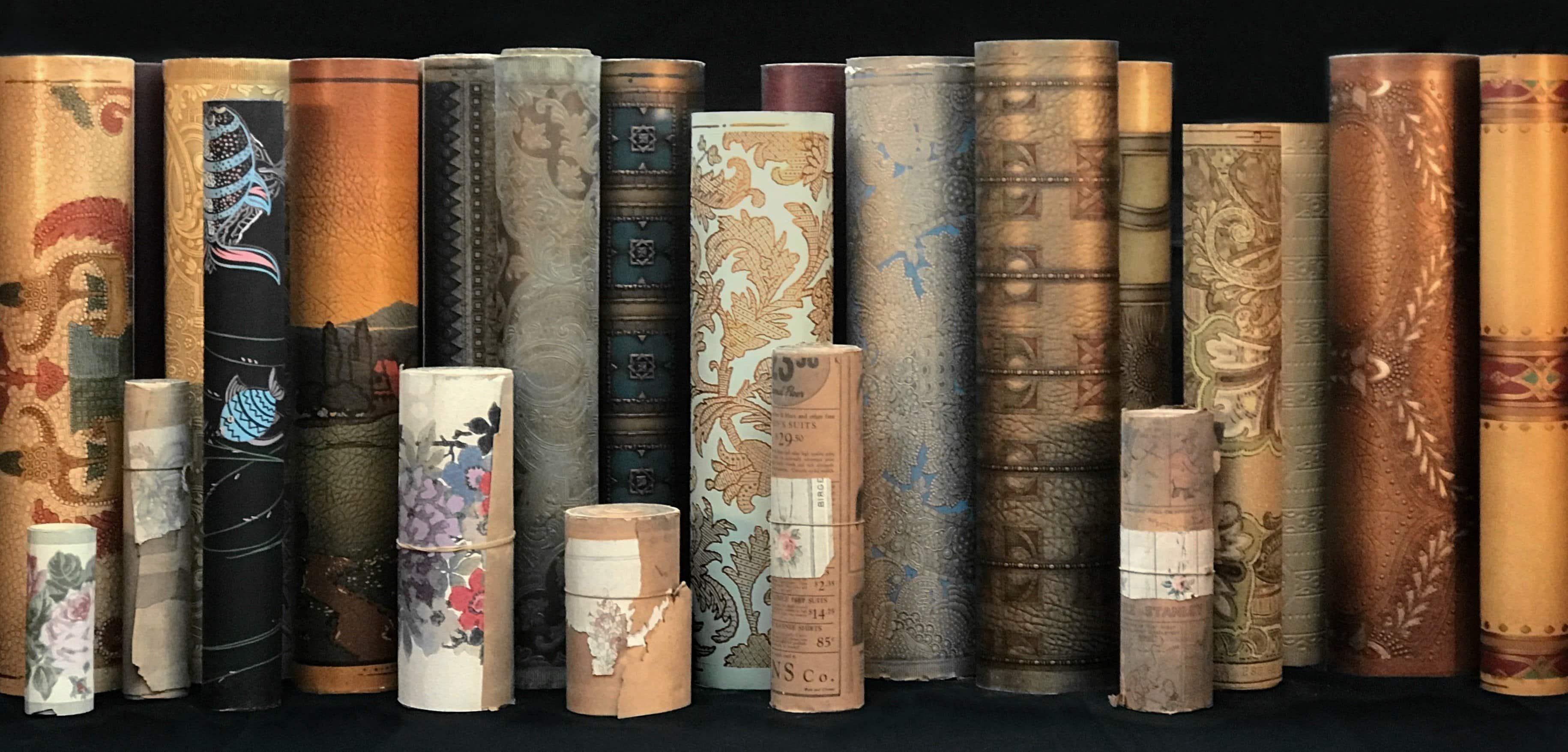 Rolls of antique wallpaper