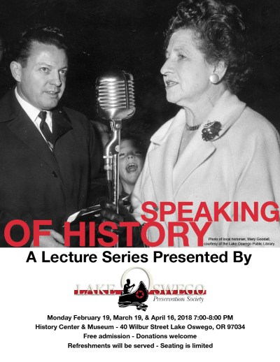 """Speaking of History"" Lecture Series poster"