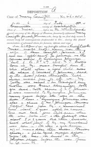 Page from the deposition of Mary (Johnson) Covington, February 1900