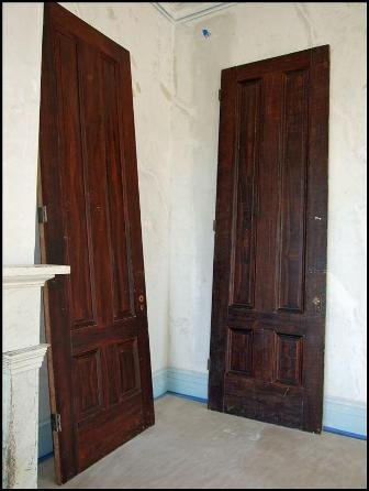 Doors with paint overburden removed