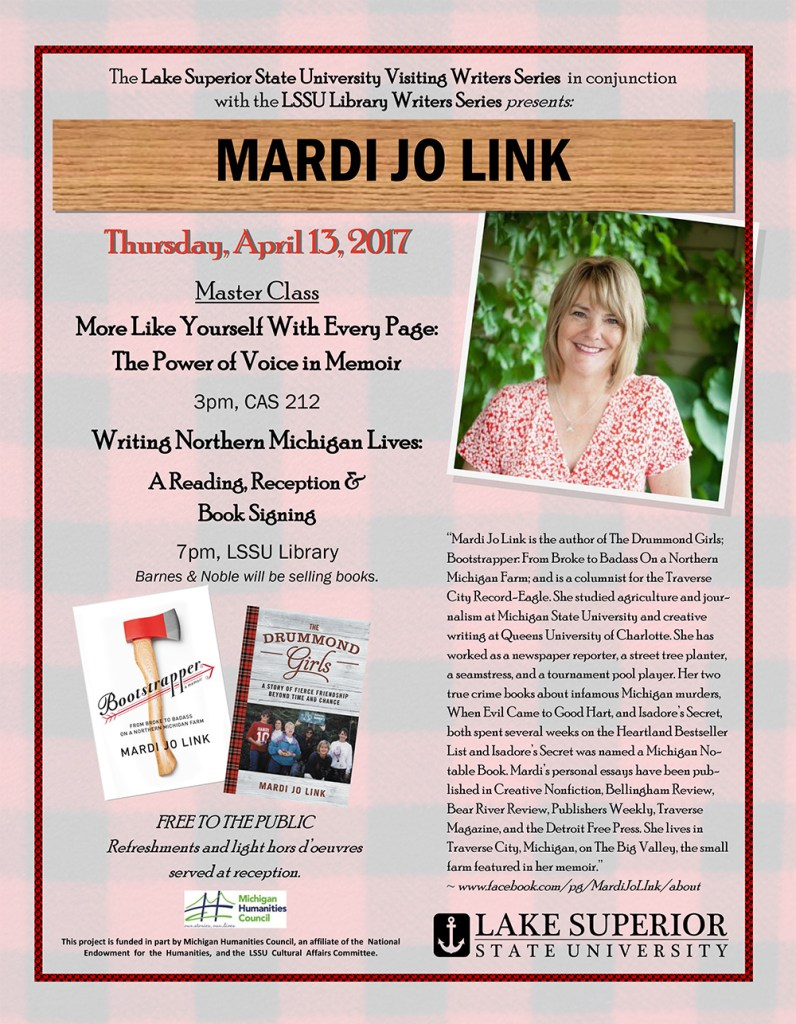 Flyer for the Mardi Jo Link events on April 13, 2017.