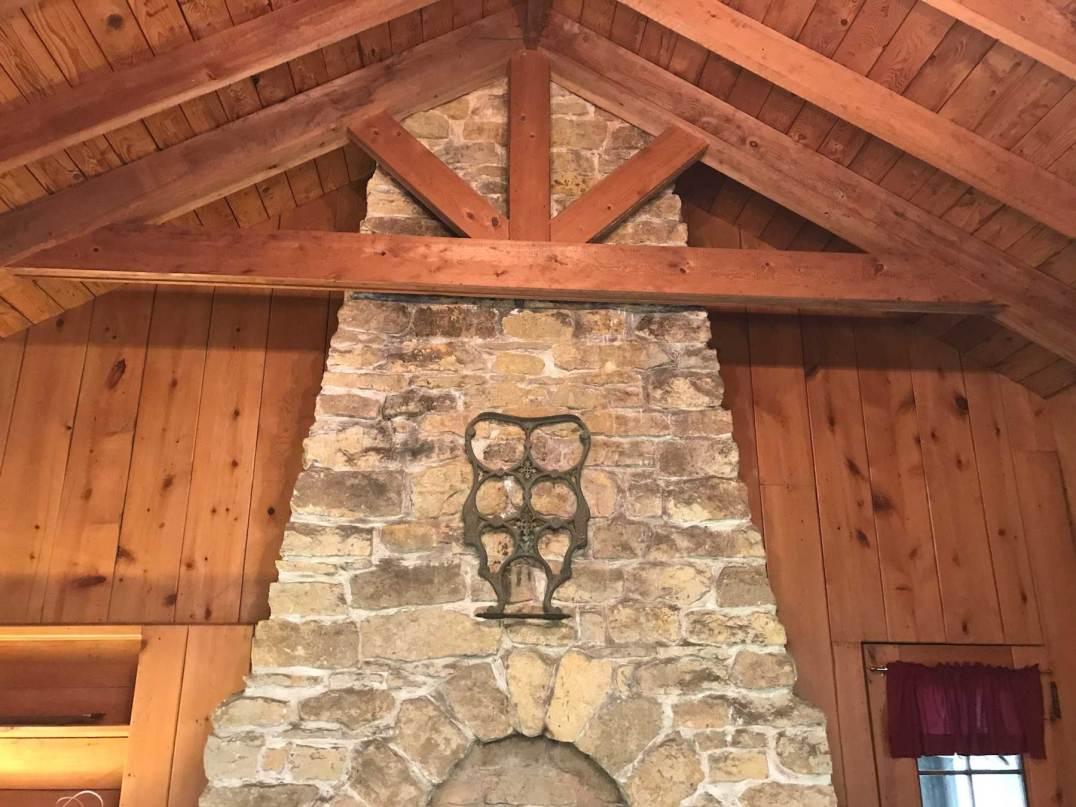 Limestone fireplace