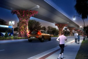 Commissioner Pat Mulieri says Pasco County officials should show this rendering when talking about the proposed elevated road. This concept would have elevated lanes high enough to provide a clear view across the road, and allow better local car and pedestrian traffic below.  (Image courtesy of Pasco County Planning and Development)