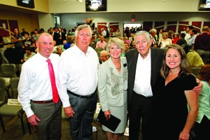 Members of the Porter family joined Pasco-Hernando State College president Katherine Johnson at the open house and dedication of Porter Campus at Wiregrass Ranch. Attending, from left, are J.D. Porter, Bill Porter, Johnson, Don Porter and Quinn Miller. (Courtesy of Pasco-Hernando State College)