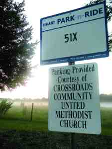 Park-and-rides like this one at CrossRoads Community United Methodist Church on County Line Road attract maybe six cars a day, HART officials say, while costing riders $24,000 a year. That could change soon for Route 51X. (Michael Hinman/Staff Photo)