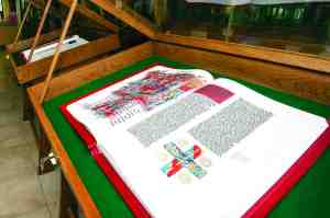 Reproductions of two volumes of the St. John's Bible are on display at Cannon Memorial Library at the University of Saint Leo this year to help celebrate the 125th anniversary of Saint Leo Abbey, Holy Name Monastery and the university. (Courtesy of Saint Leo University)