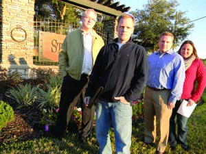 Jason Amerson, second from left, will fight any elevated road planned to run near his home off State Road 54 in Land O' Lakes, but won't challenge the county's current long-range transportation plan as long as elevated roads don't come up as a viable option. He was one of the leaders of a local protest group, Pasco Fiasco, that included, from left, Patrick Knight, Brian Narcum and Kristine Narcum.  (File Photo)