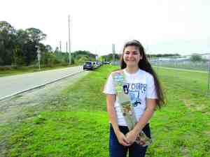 Wesley Chapel High student Samantha Politano is striving to attain a Girl Scout Gold Award, the highest honor awarded to a Girl Scout. Her project is to improve safety traffic conditions on Wells Road. (B.C. Manion/Staff Photo)
