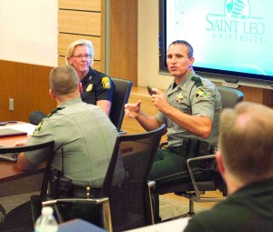 Pasco Sheriff Chris Nocco and Tampa Police Chief Jane Castor spoke recently at Saint Leo University about the use of body cameras. (Courtesy of Saint Leo University)