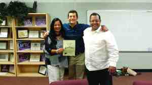 Sandra, Antonio and Alfredo Medina pose for a photo after Antonio is named salutatorian of the class of 2015 at Wiregrass Ranch High School. (Courtesy of the Medina family)
