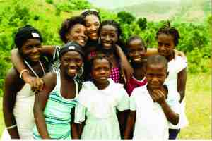These Haitian children seem to enjoy posing for a picture. (Photos courtesy of Cindy Oelke)