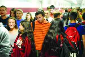 The swarm of students passing through school corridors at Wiregrass Ranch High School is like a traffic jam. (Courtesy of Wiregrass Ranch HIgh School)