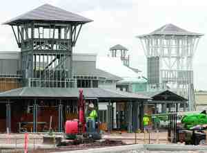 These towers provide a point of interest at Tampa Premium Outlets, a project taking shape on State Road 56, just off Interstate 75.