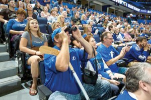 Thousands of fans come to Fan Fest each year to watch scrimmages and hear interviews with players and executives. (Photo courtesy of the Tampa Bay Lightning Facebook page)