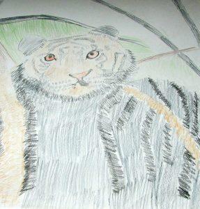 Jose Trevino demonstrates his artistic skills through this colored pencil drawing. (B.C. Manion/Staff Photo)