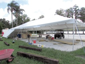 Temporary tents, and two volleyball courts, are set up at The Tiki Cove. Plans are to build a brick-and-mortar bar and restaurant in the coming months. On the Mark catering company will serve food, beer and specialty drinks in the interim.