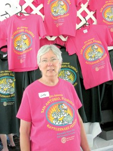 Betty Burke, the chairwoman of the San Antonio Rattlesnake Festival & Run, says the event's T-shirt is one of its best advertisements. (B.C. Manion/Staff Photo)