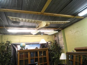 A large, wooden biplane hangs from a ceiling at Shabby Shack. Shop owner Laura Sanderson thinks it would make a perfect hanging lamp over a pool table.