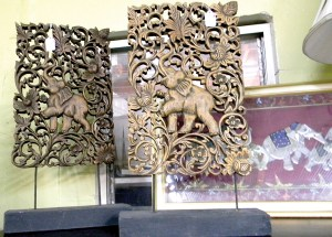 Elephants are the motif for a pair of table art decorations at Shabby Shack. (Kathy Steele/Staff Photos)