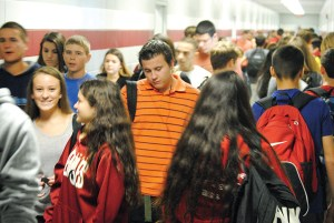 This photo, taken in the 2014-2015 school year, gives an idea of the crowding that Wiregrass Ranch High was experiencing before it went to a 10-period school day. The school went to a staggered schedule this school year, to reduce the impacts of crowding.